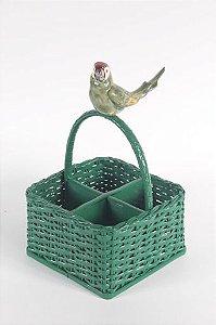 Porta talher verde com pássaro grande