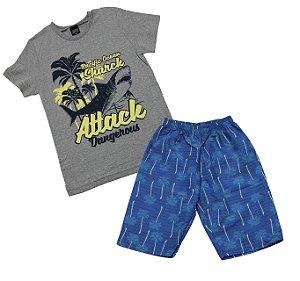 Conjunto com Camiseta Estampada Tubarão com Bermuda Microfibra Cinza