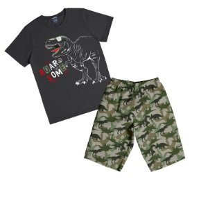 Conjunto com Camiseta Estampada Dinoussauro e Bermuda Microfibra Preto