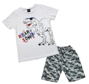 Conjunto com Camiseta Estampada Dinoussauro e Bermuda Microfibra Branco