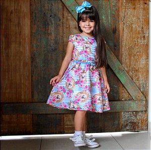 Vestido Infantil Menina Pug  Azul