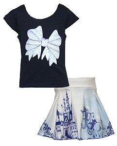Conjunto Infantil Menina Laço Azul