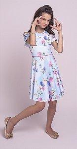 Vestido Infantil Menina Flores Azul