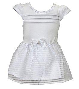 Body Vestido Bebê Menina Laço Branco