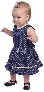 Vestido Bebê Menina Âncora Azul