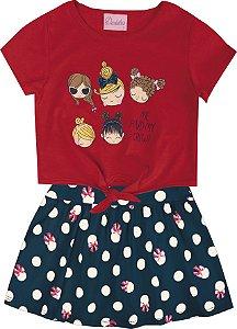 Conjunto com Blusa em Meia Malha Estampada Meninas e Saia Shorts Vermelho