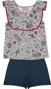 Conjunto com Blusa em Meia Malha Estampada e Shorts em Chambray Cinza
