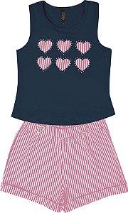 Conjunto com Regata em Cotton com Aplique e Shorts Anarruga Azul
