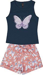Conjunto com Regata em Cotton com Aplique e Shorts Crepe Azul