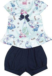 Conjunto com Bata em Malha Crepe Estampada com Detalhe em Laço e Shorts em Cotton Azul Piscina