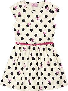 Vestido Infantil Menina Bolinha Bege