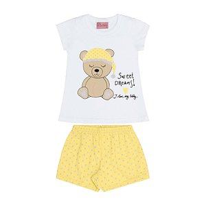 Conjunto Pijama Blusa e Shorts Ursinho Branco