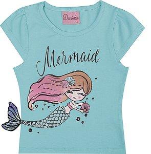 Blusa Infantil Menina Mermaid Azul