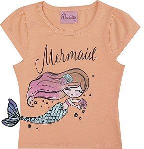 Blusa Infantil Menina Mermaid Laranja