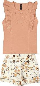 Conjunto com Regata em Cotton e Shorts Estampado de Linho Laranja