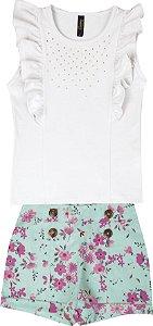 Conjunto com Regata em Cotton e Shorts Estampado de Linho Branco