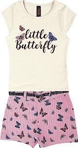Conjunto com Blusa em Cotton Little Butterfly e Shorts Estampado com Cinto Bege