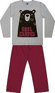 Conjunto Pijama Camisa Urso e Calça Mescla