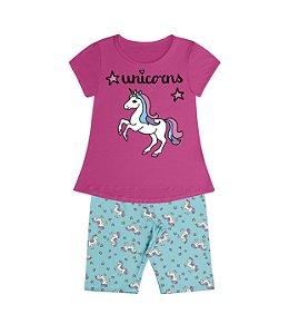 Conjunto Pijama Blusa Unicorns e Shorts Rotativo Rosa