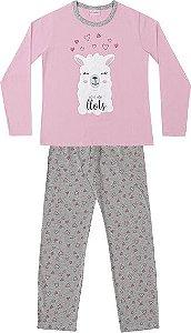 Conjunto Pijama Blusa Ovelha e Calça Coração Rosa