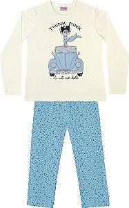 Conjunto Pijama Blusa Girafa Calça Bolinha Bege