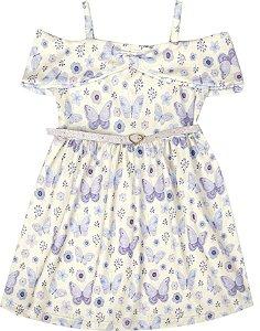 Vestido Infantil Menina Borboletas Bege