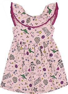 Vestido Infantil Menina Happy Rosa