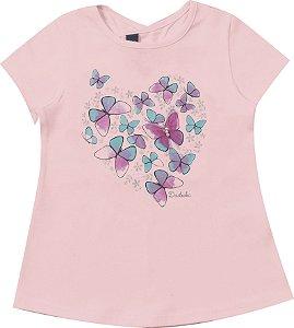 Blusa Infantil Menina Borboletas Rosa
