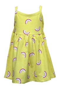 Vestido Infantil Menina Arco-Íris Amarelo
