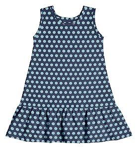 Vestido Infantil Menina Bolinhas Azul