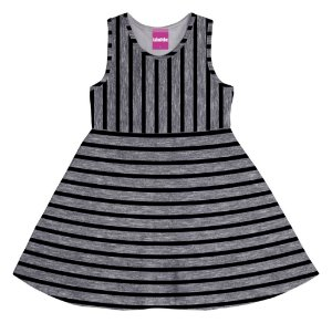 Vestido Infantil Menina Listrado Mescla