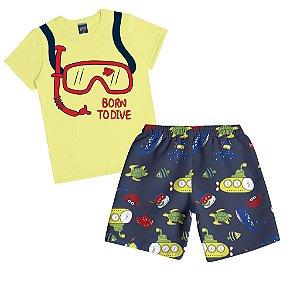 Conjunto Camiseta Meia Malha e Bermuda Microfibra Amarelo