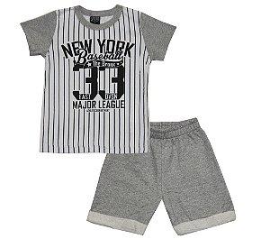 Conjunto de Camiseta New York e Bermuda Moletom soft sem Felpa Branco