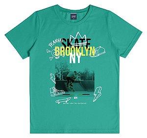Camiseta Infantil Menino Skate Brooklyn Verde