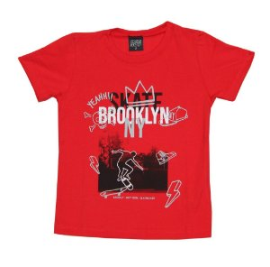 Camiseta Infantil Menino Skate Brooklyn Vermelho