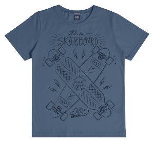 Camiseta Infantil Menino Skateboard Azul