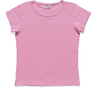 Blusa Infantil Menina Básica Rosa Flúor