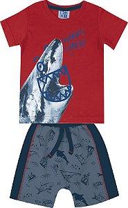 Conjunto de Camiseta Tubarão Bermuda Moletom Soft Vermelho