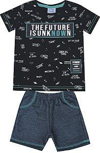 Conjunto de Camiseta Estampada Bermuda Moletom Jeans Preto