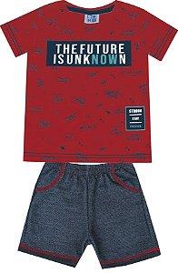Conjunto de Camiseta Estampada Bermuda Moletom Jeans Vermelho