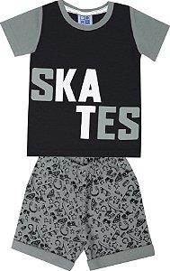 Conjunto de Camiseta Skates Bermuda Moletom Soft Estampado Preto