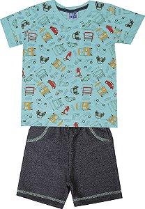 Conjunto de Camiseta em Meia Malha decote V Bermuda em Moletom Jeans Azul