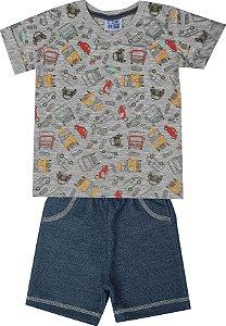 Conjunto de Camiseta em Meia Malha decote V Bermuda em Moletom Jeans Mescla