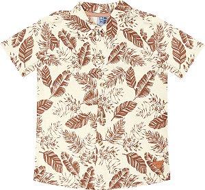 Camisa Infantil Menino Folhas Laranja