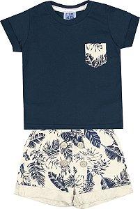 Conjunto de Camiseta Bermuda Estampada Azul