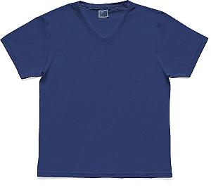Camiseta em Decote V Infantil Menino Básica Azul