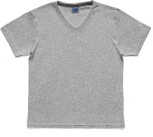 Camiseta em Decote V Infantil Menino Básica Cinza