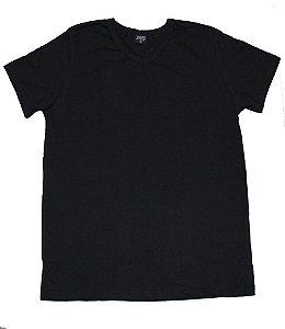 Camiseta em Decote V Infantil Menino Básica Preto