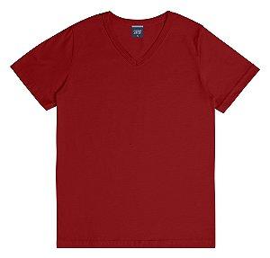 Camiseta em Decote V Infantil Menino Básica Vermelha
