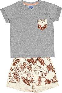Conjunto de Camiseta Bermuda Estampada Mescla